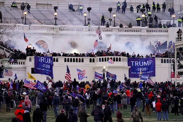 Rioters attack the US Capitol on 6 January, 2021 (Copyright 2021 The Associated Press. All rights reserved.)