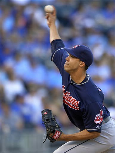 Cleveland Indians starting pitcher Ubaldo Jimenez throws against the Kansas City Royals during the first inning of a baseball game Monday, April 29, 2013, in Kansas City, Mo. (AP Photo/Reed Hoffmann)