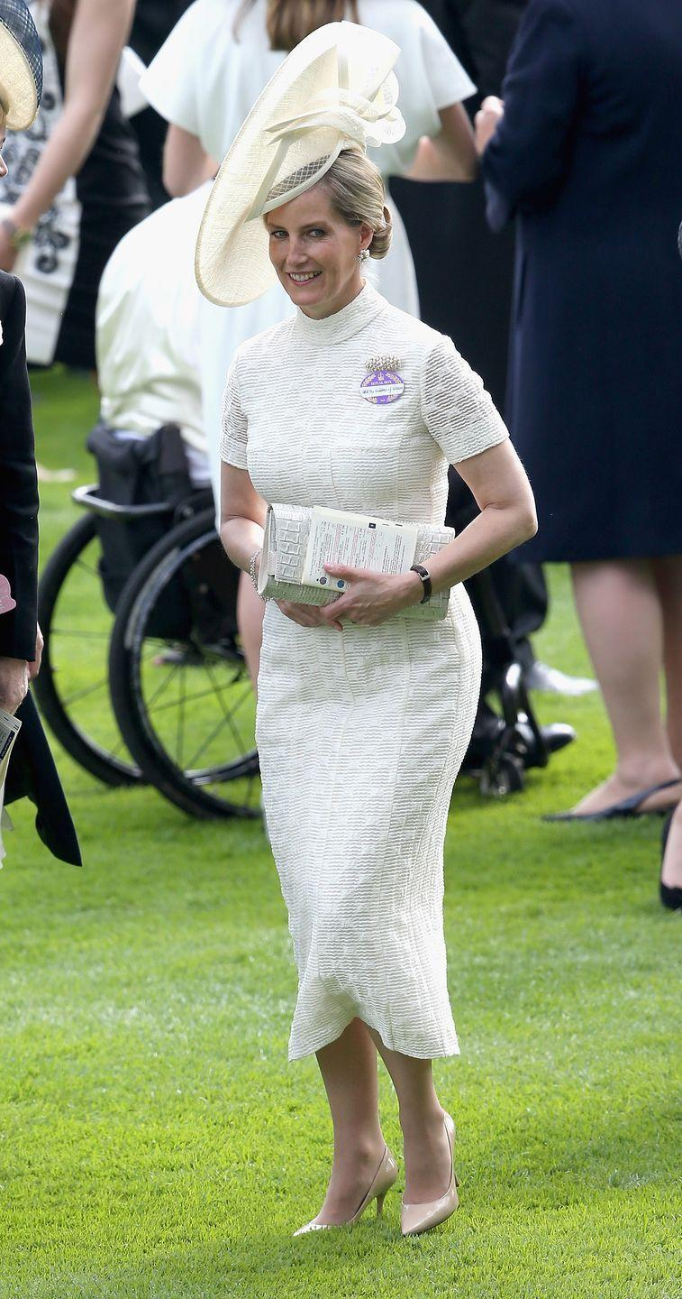 <p>The royals might be remember for their colorful outfits, but Sophie, Countess of Wessex, looked stunning in white monochrome at the Royal Ascot in 2015.</p>