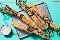 """Make this street-food favorite at home with flavor-packed chipotle mayonnaise and crumbly Cotija cheese. <a href=""""https://www.epicurious.com/recipes/food/views/3-ingredient-grilled-mexican-street-corn-elote?mbid=synd_yahoo_rss"""" rel=""""nofollow noopener"""" target=""""_blank"""" data-ylk=""""slk:See recipe."""" class=""""link rapid-noclick-resp"""">See recipe.</a>"""