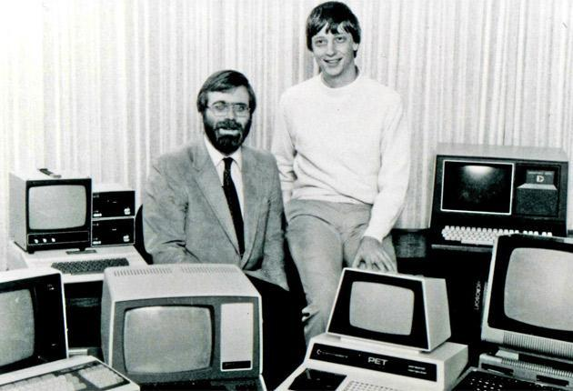 With Bill Gates and lots of computers in 1981 (Rex)