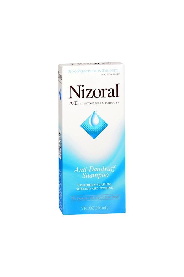"""<p><strong>Nizoral A-D </strong></p><p>amazon.com</p><p><strong>$14.59</strong></p><p><a href=""""https://www.amazon.com/dp/B00AINMFAC?tag=syn-yahoo-20&ascsubtag=%5Bartid%7C10051.g.23584930%5Bsrc%7Cyahoo-us"""" target=""""_blank"""">Shop Now</a></p><p>Nizoral A-D Dandruff Shampoo uses 1% Ketoconazole, an antifungal medication, to control irritation on the scalp that can cause flaking and itching. Since the shampoo is very strong you'll only have to use it twice a week to see results.</p>"""