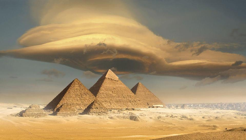 """<p>When it was built <a href=""""https://www.guinnessworldrecords.com/world-records/tallest-pyramid/"""" rel=""""nofollow noopener"""" target=""""_blank"""" data-ylk=""""slk:over 4,500 years ago"""" class=""""link rapid-noclick-resp"""">over 4,500 years ago</a>, the pyramid of Khufu stood at 481 feet tall. But over the years, erosion has caused the pyramid to shrink down a bit. It now stands at 451 feet tall.</p>"""