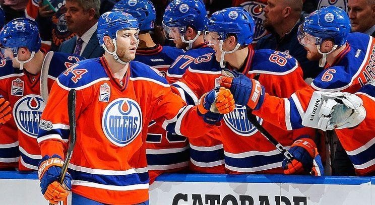 Edmonton Oilers forward Zack Kassian (44) celebrates a second period short-handed goal against the San Jose Sharks in Game 2 of the first round of the 2017 Stanley Cup Playoffs at Rogers Place. (Perry Nelson-USA TODAY Sports)
