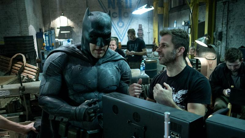 Snyder on Justice League set with Ben Affleck (Credit: Warner Bros)