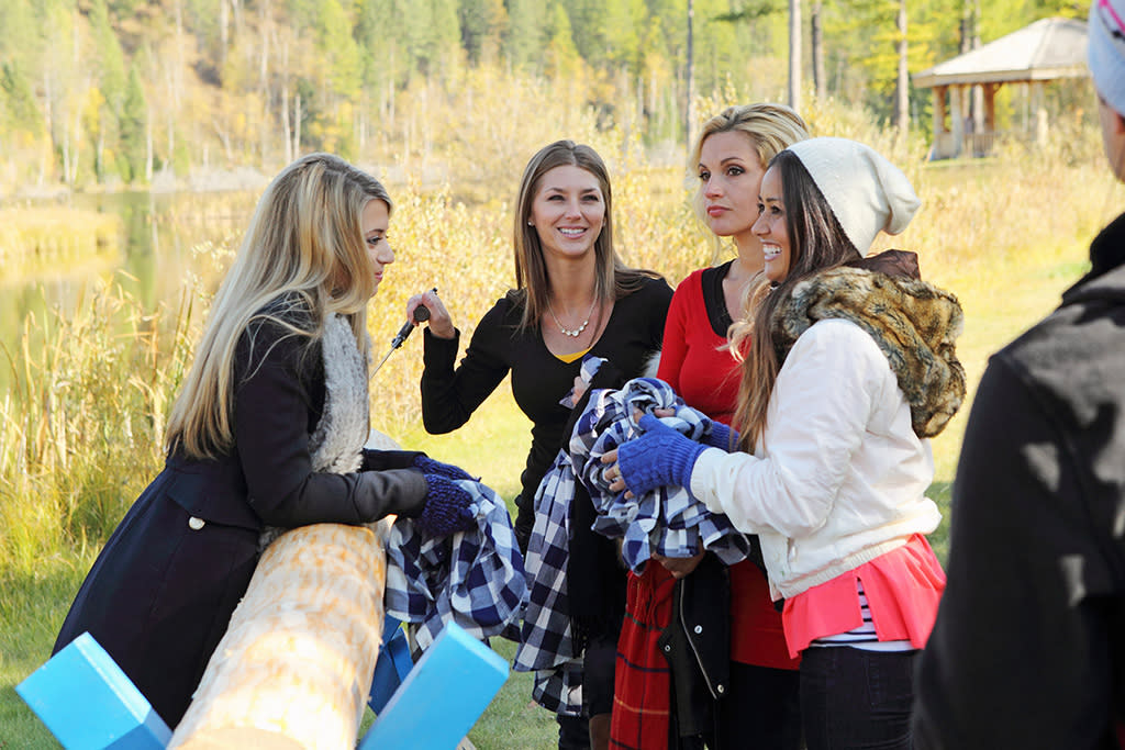 """Episode 1705"" - Eight of the bachelorettes discover canoes, hay, a wood chopping station and goats at a local lake - uh-oh! They are once again split into two teams for a Montana relay race. The final part of the challenge will be milking a goat and chugging its milk! The winning team will be rewarded with extra time with Sean that night, while the losing team will head back to the hotel. One team finally squeaks by to win. But Sean makes a surprising decision when it comes to the losing team that is bound to upset the winners. And to make things more interesting, Tierra, upset that she will be on the two-on-one date, shows up at the after party, on ""The Bachelor."""