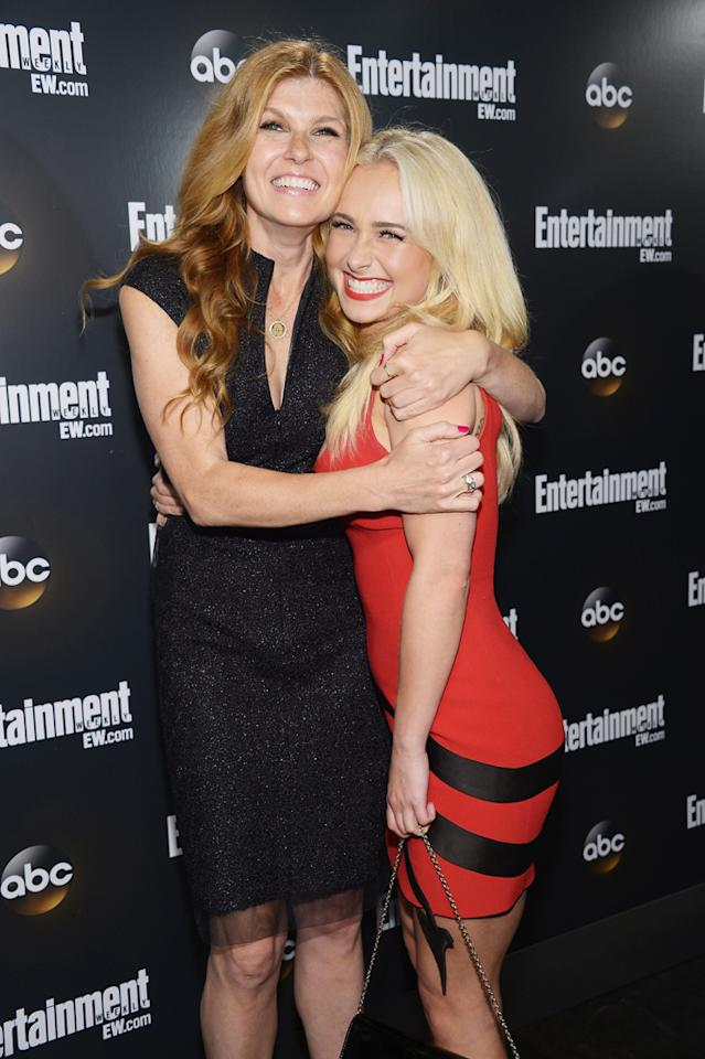 "Connie Britton and Hayden Panettiere (""Nashville"") attend the Entertainment Weekly and ABC Upfront VIP Party at Dream Downtown on May 15, 2012 in New York City."