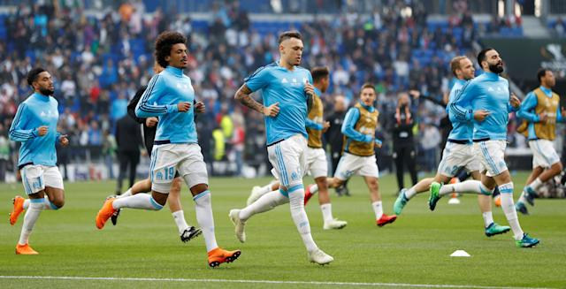 Soccer Football - Europa League Final - Olympique de Marseille vs Atletico Madrid - Groupama Stadium, Lyon, France - May 16, 2018 Marseille's Luiz Gustavo and Lucas Ocampos during the warm up before the match REUTERS/John Sibley