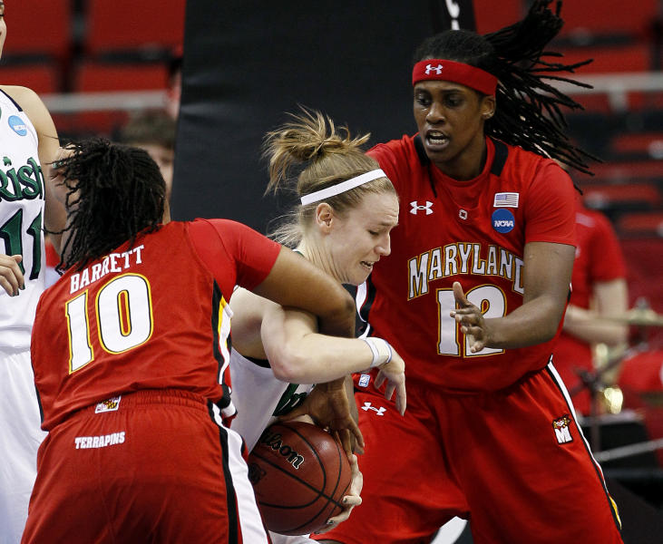 Notre Dame's Natalie Novosel, center, is pressured by Maryland's Anjale Barrett (10) and Lynetta Kizer during the first half of an NCAA women's college basketball tournament regional final in Raleigh, N.C., Tuesday, March 27, 2012. (AP Photo/Gerry Broome)