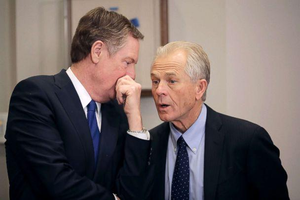 PHOTO: Trade Representative Robert Lighthizer, left, and White House National Trade Council Director Peter Navarro talk, March 8, 2018, at the White House in Washington. (Chip Somodevilla/Getty Images)