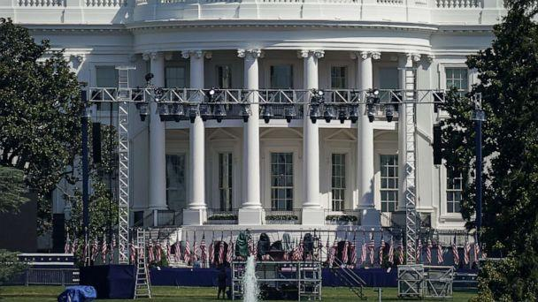 PHOTO: Staging and lighting is set up on the South Lawn of the White House on Aug. 24, 2020. (Drew Angerer/Getty Images)