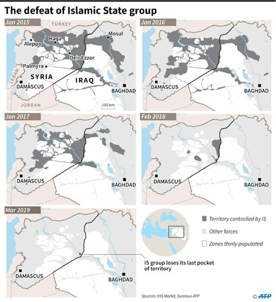 The decline of the zones controlled by Islamic State group between January 2015 and March 2019 in Syria and Iraq
