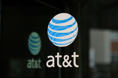 FILE PHOTO: An AT&T logo is seen at a AT&T building in New York City, October 23, 2016. REUTERS/Stephanie Keith/File Photo