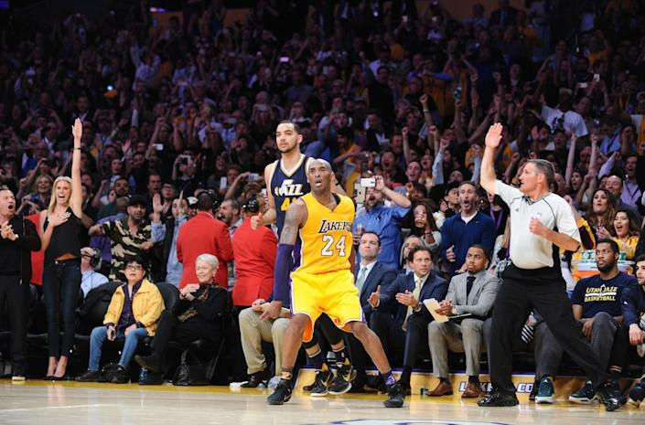 Kobe Bryant makes a three-pointer against the Jazz during the final game of his career.