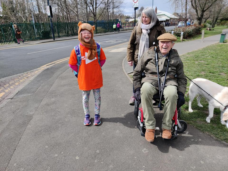 the schoolgirl was joined by her grandfather, Geoffrey Ridley, on one of the walks (Family handout/PA)