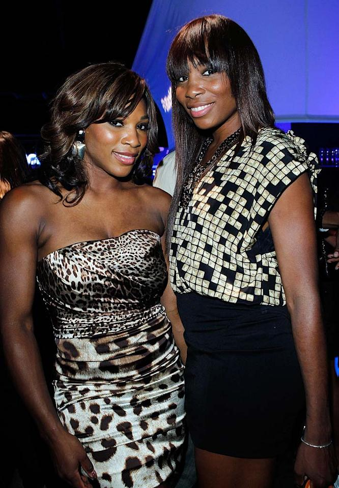 """Jocks Serena and Venus Williams scored a double win in their short, sexy frocks. Which sister do you think looked hotter? Donato Sardella/<a href=""""http://www.wireimage.com"""" target=""""new"""">WireImage.com</a> - August 11, 2010"""