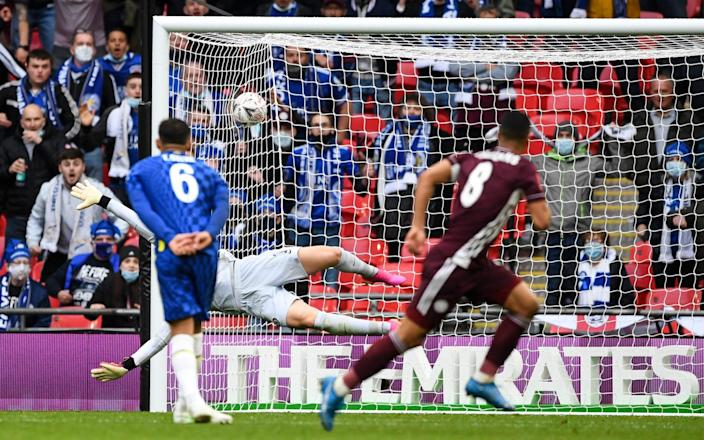 Youri Tielemans watches as his strike flies into the back of the net - ANDY HOOPER