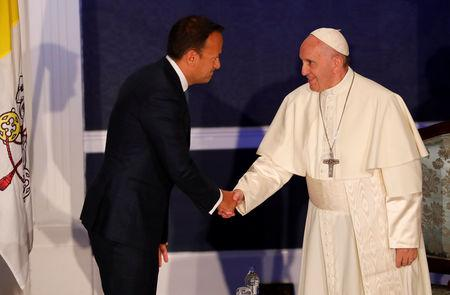 Pope Francis is greeted by Taoiseach Leo Varadkar at Dublin Castle during his visit to Dublin, Ireland, August 25, 2018. REUTERS/Stefano Rellandini