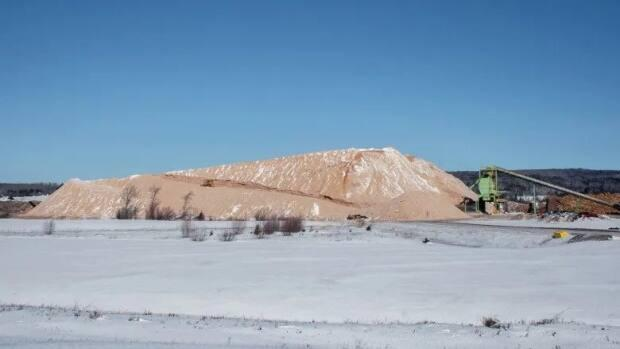 Wood chips are piled high at the J.D. Irving sawmill in Sussex in March.