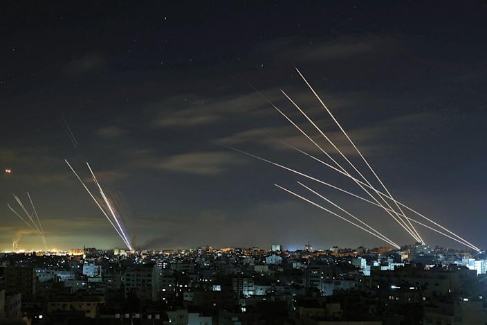 Israel's Iron Dome missile defence system intercepts rockets fired by Hamas on May 16, 2012, in Gaza.