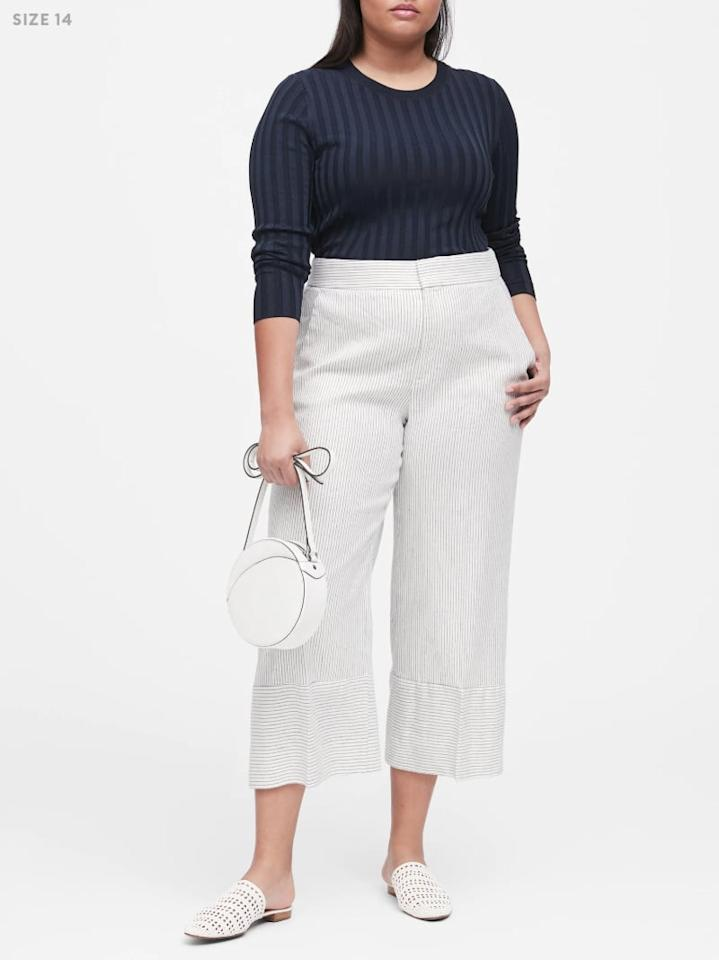 "<p>While wide-leg cropped pants are definitely an all-season staple, throw some thin pinstripes and lightweight linen into the mix, and you've suddenly got a Summer-ready piece. A white blouse and white accessories will take these <a href=""https://www.popsugar.com/buy/wide-leg%20pants-468309?p_name=wide-leg%20pants&retailer=bananarepublic.gap.com&price=99&evar1=fab%3Aus&evar9=46379195&evar98=https%3A%2F%2Fwww.popsugar.com%2Ffashion%2Fphoto-gallery%2F46379195%2Fimage%2F46379627%2FHigh-Rise-Wide-Leg-Linen-Cotton-Cropped-Pant&prop13=api&pdata=1"" rel=""nofollow"" data-shoppable-link=""1"" target=""_blank"" class=""ga-track"" data-ga-category=""Related"" data-ga-label=""http://bananarepublic.gap.com/browse/product.do?pid=470359002&amp;pcid=999#pdp-page-content"" data-ga-action=""In-Line Links"">wide-leg pants</a> ($99) to the office.</p>"