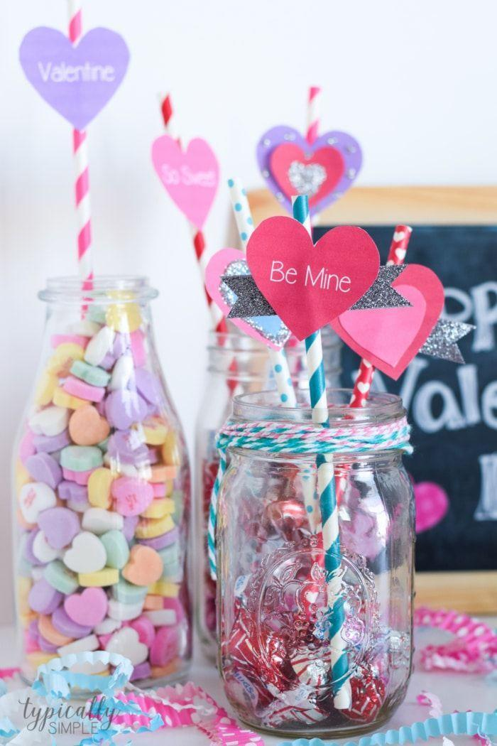 """<p>Use printable hearts to decorate paper straws for extra pizazz in your holiday drinks. Kids can decorate their own with glue, glitter, and decorative tape.</p><p><em><a href=""""https://typicallysimple.com/valentines-day-craft-straw-toppers/"""" rel=""""nofollow noopener"""" target=""""_blank"""" data-ylk=""""slk:Get the how-to at Typically Simple»"""" class=""""link rapid-noclick-resp"""">Get the how-to at Typically Simple»</a></em><br></p>"""