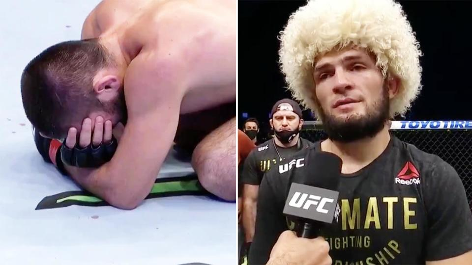 Khabib Nurmagomedov, pictured here announcing his retirement after winning at UFC 254.