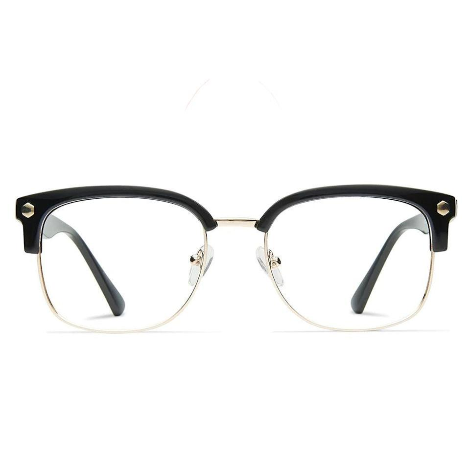 """<p><strong>Muse</strong></p><p>glassesusa.com</p><p><strong>$94.00</strong></p><p><a href=""""https://go.redirectingat.com?id=74968X1596630&url=https%3A%2F%2Fwww.glassesusa.com%2Fblackgold-medium%2Felliot%2F31-m10033.html&sref=https%3A%2F%2Fwww.bestproducts.com%2Fmens-style%2Fg33594937%2Fstylish-glasses-frames-for-men%2F"""" rel=""""nofollow noopener"""" target=""""_blank"""" data-ylk=""""slk:Shop Now"""" class=""""link rapid-noclick-resp"""">Shop Now</a></p><p>These frames from Muse have a retro vibe to them, inspired by the 1950s' Browline glasses style. We love the black/gold color combination for a classic look, but you can find this style in black/gunmetal and tortoise/gold as well.</p>"""