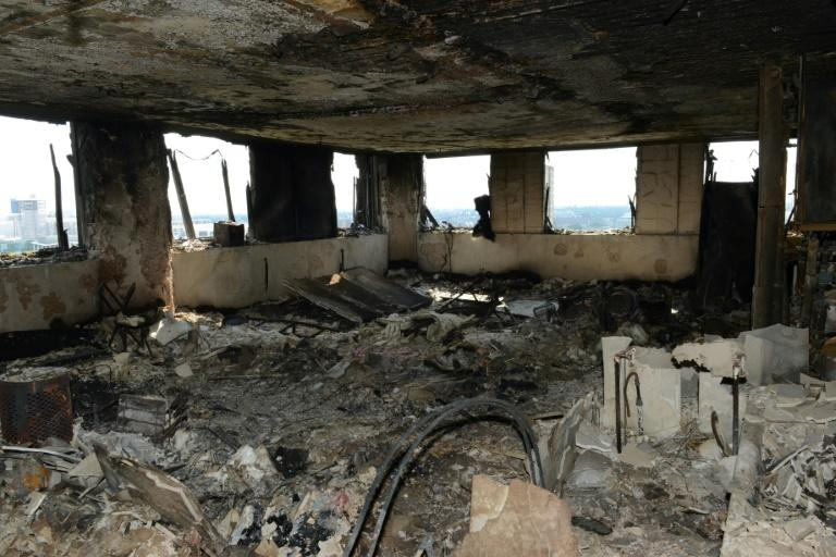 The inside of Grenfell Tower after a fire engulfed the 24-storey building in west London