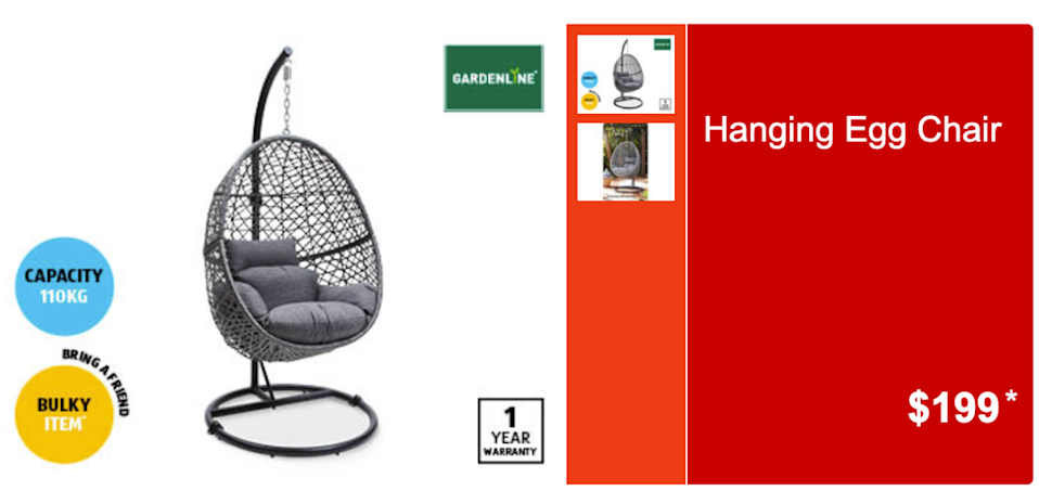 Aldi hanging egg chair
