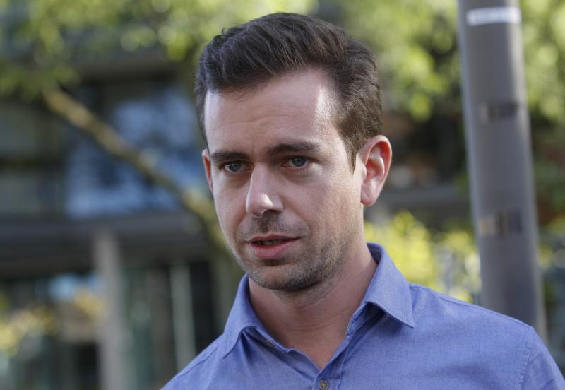 Jack Dorsey, chairman of Twitter and CEO of Square, leaves the building where he was part of a Techonomy Detroit panel discussion held at Wayne State University in Detroit, Michigan