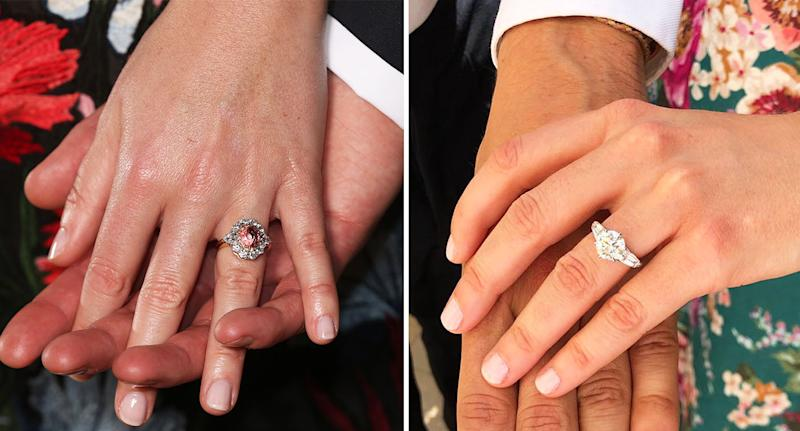 Princess Beatrice engagement ring: Pictured next to sister Princess Eugenie's engagement ring, left. [Photo: Getty/PA]