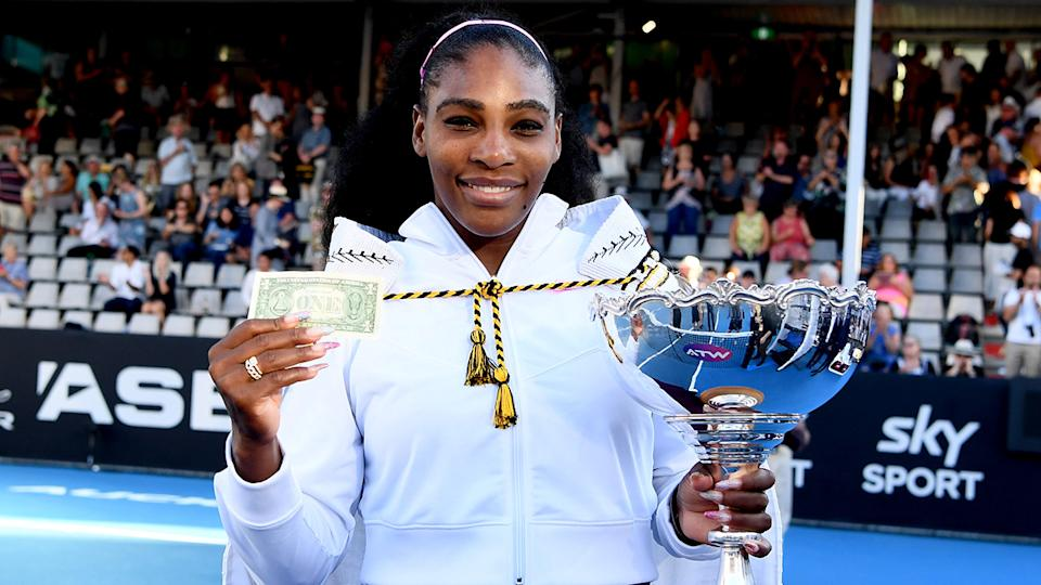 Serena Williams, pictured here celebrating with the trophy after winning the ASB Classic.