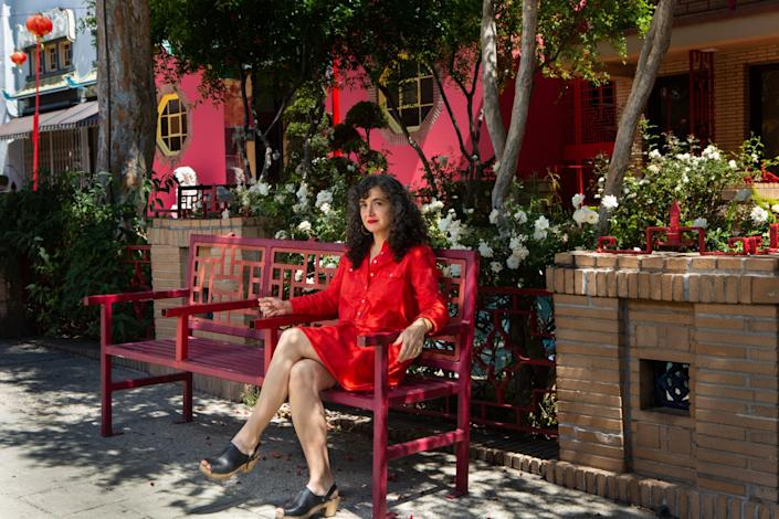 """Architect Rachel Allen, outside her Chinatown office in May, says the design of housing is likely to evolve as a result of the pandemic. <span class=""""copyright"""">(Gabriella Angotti-Jones / Los Angeles Times)</span>"""