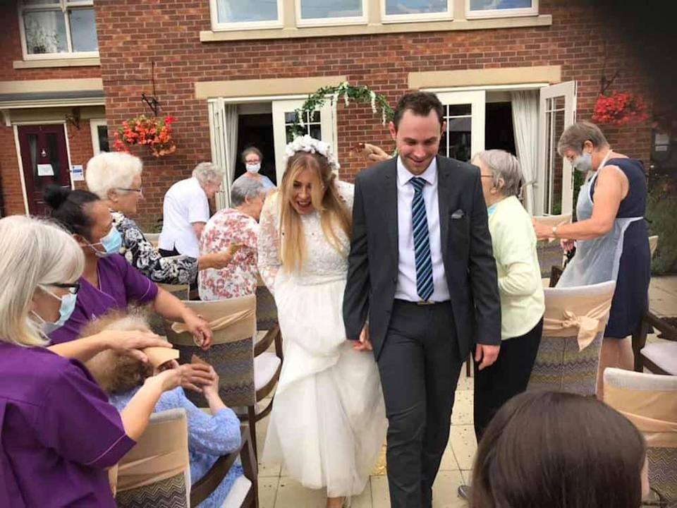 Katie and Phil had a blessing in the back garden of the care home followed be a delicious buffet (Collect/PA Real Life).