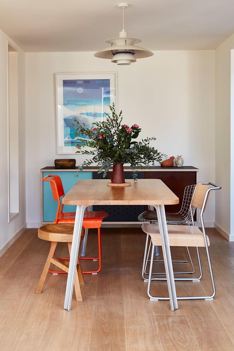 After: The larger dining area is located where the kitchen once was (and features the same charming color-blocked credenza as the original space!).