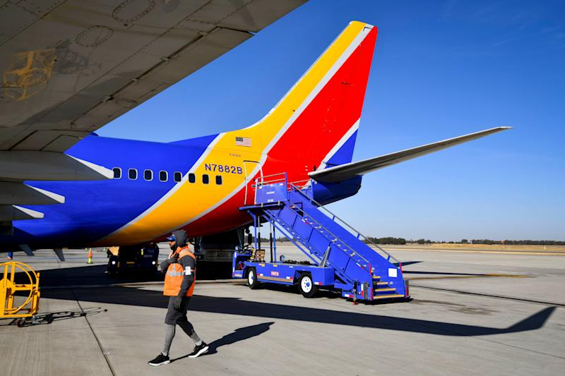 Stairs sit at the back of a Southwest aircraft in Sacramento, California.