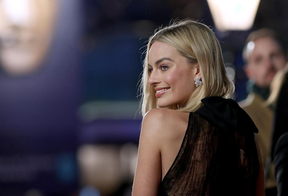 Margot Robbie in black at the Baftas. (Photo by Mike Marsland/Mike Marsland/WireImage)