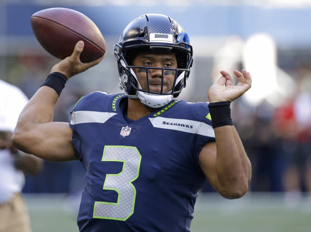 Russell Wilson, MVP challenger. (AP Photo/Elaine Thompson)