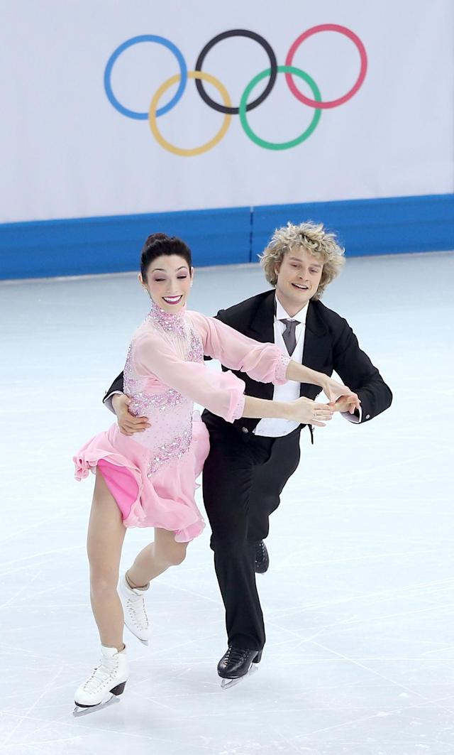 SOCHI, RUSSIA - FEBRUARY 08: Meryl Davis and Charlie White of the United States compete in the Figure Skating Team Ice Dance - Short Dance during day one of the Sochi 2014 Winter Olympics at Iceberg Skating Palace on February 8, 2014 in Sochi, Russia. (Photo by Matthew Stockman/Getty Images)