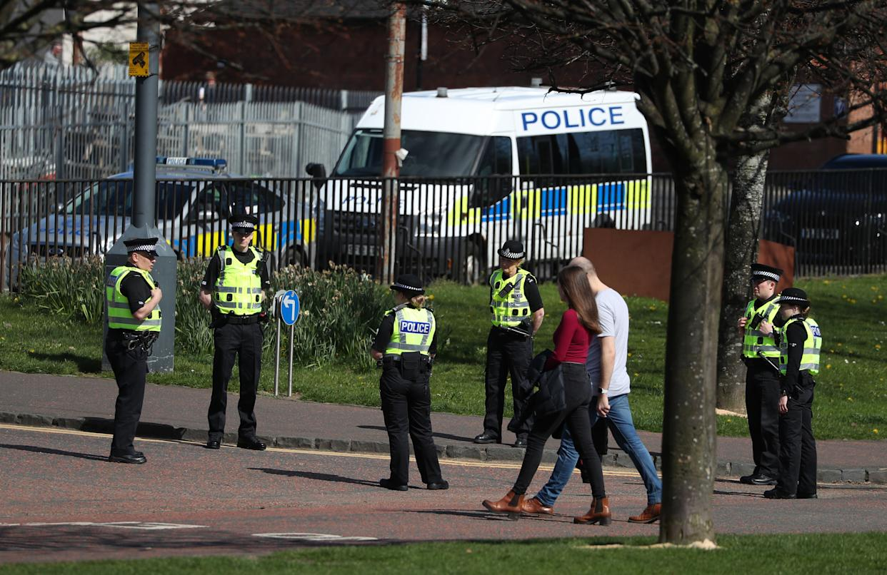 Police officers in Glasgow Green to ensure members of the public are following lockdown guidelines as the UK continues in lockdown to help curb the spread of the coronavirus.
