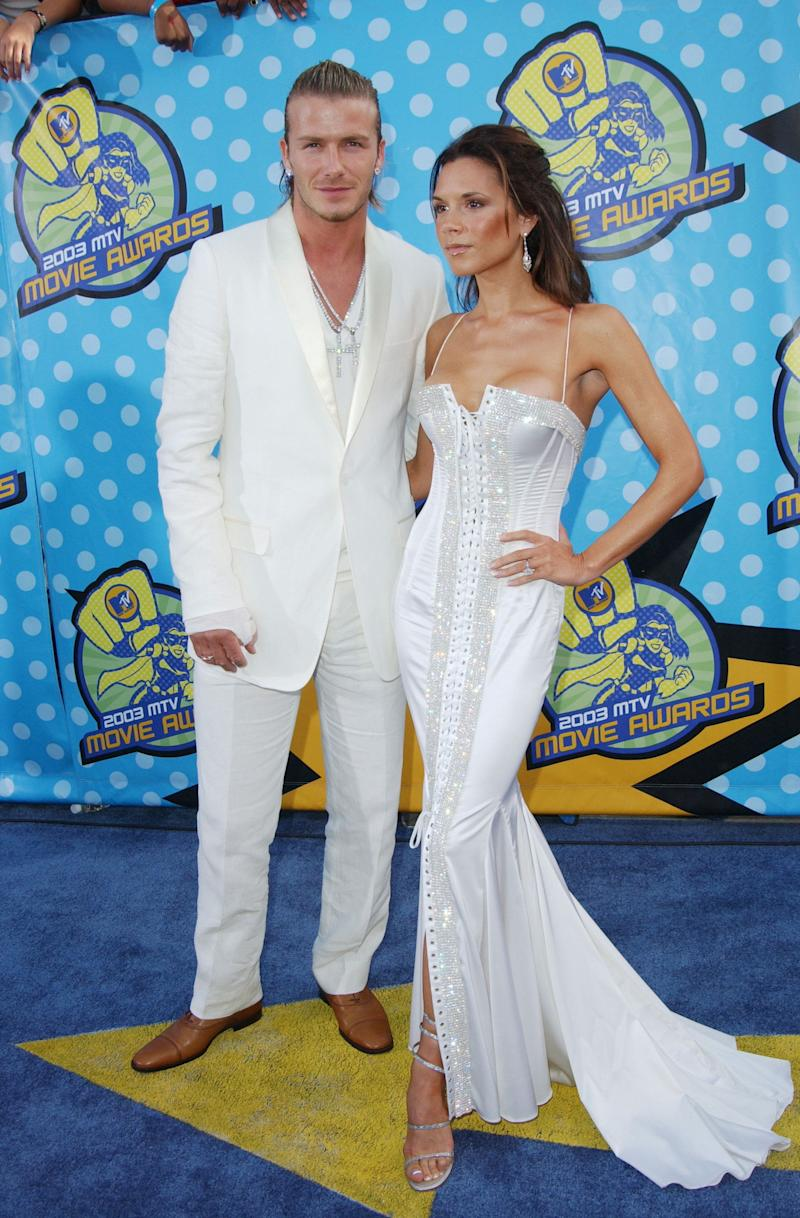 Still enjoying the crucifixes and the white ensembles at the 2003 MTV Movie Awards.