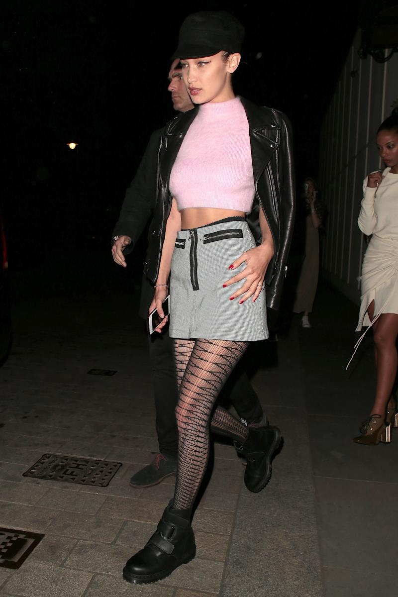 Bella Hadid on a night out at Sexy Fish restaurant in Mayfair on April 19, 2017 in London, England.