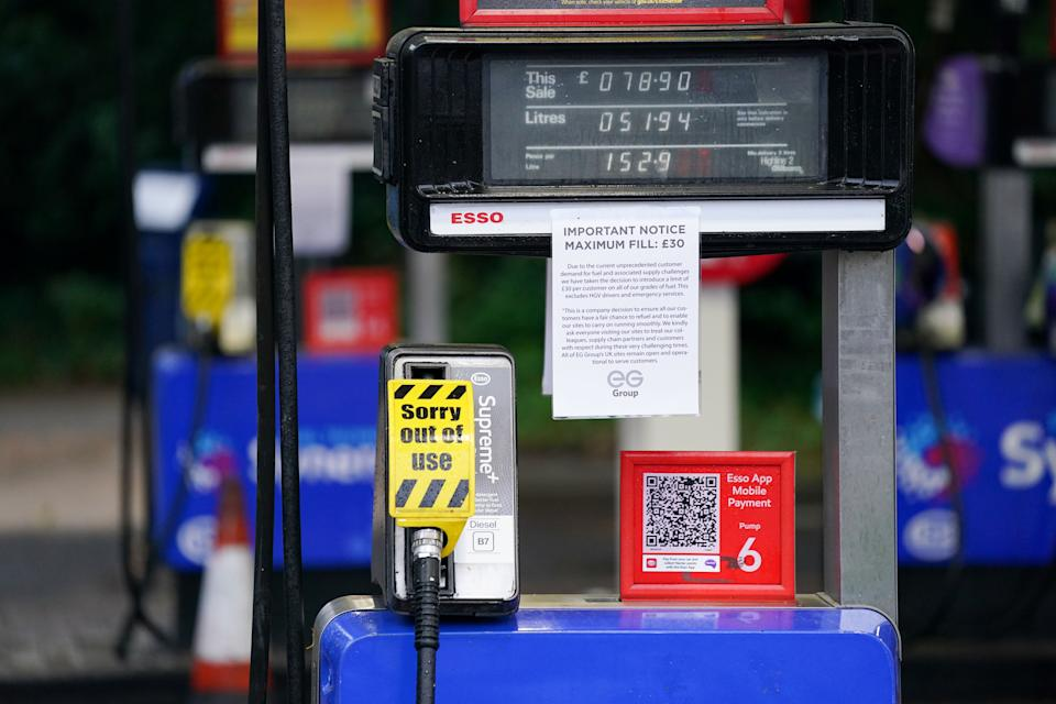 Fuel pumps are out of use at a deserted Esso petrol station forecourt in Solihull, Birmingham. Picture date: Monday September 27, 2021.