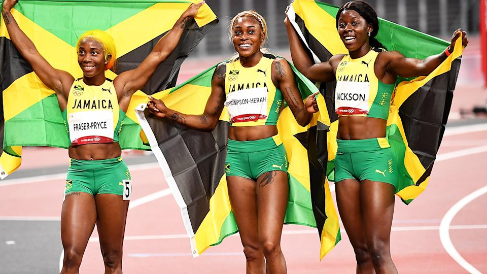 Shelly-Ann Fraser-Pryce, Elaine Thompson-Herah and Shericka Jackson, pictured here after the 100m final.