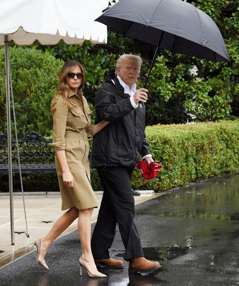 <p>Just a week after coming under fire for wearing Manolo Blahnik heels to visit Hurricane Harvey victims, the First Lady stepped left for the disaster zone again wearing, you guessed it, another pair of heels. Also, by Manolo Blahnik. <em>[Photo: Getty]</em> </p>