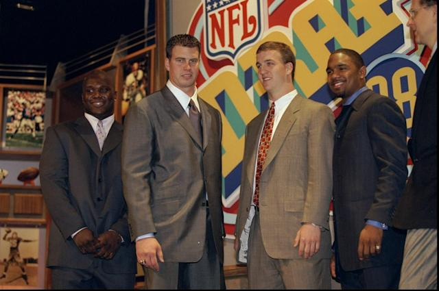 Opinions raged about Ryan Leaf and Peyton Manning at the 1998 NFL draft, but none put money in it like Hunter S. Thompson claimed to. (Getty Images)