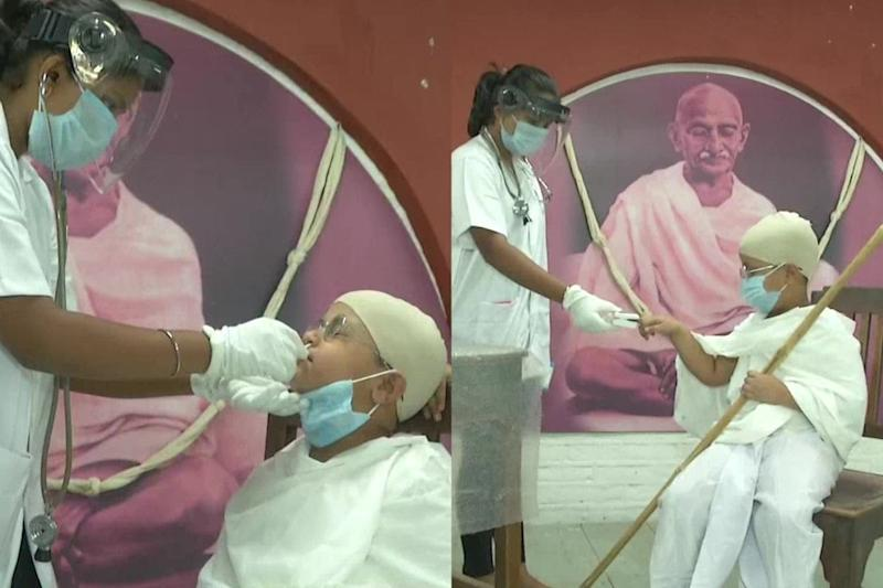 10-Year-Old Gujarat Boy Dresses Up as Mahatma Gandhi While Getting Tested for Covid-19