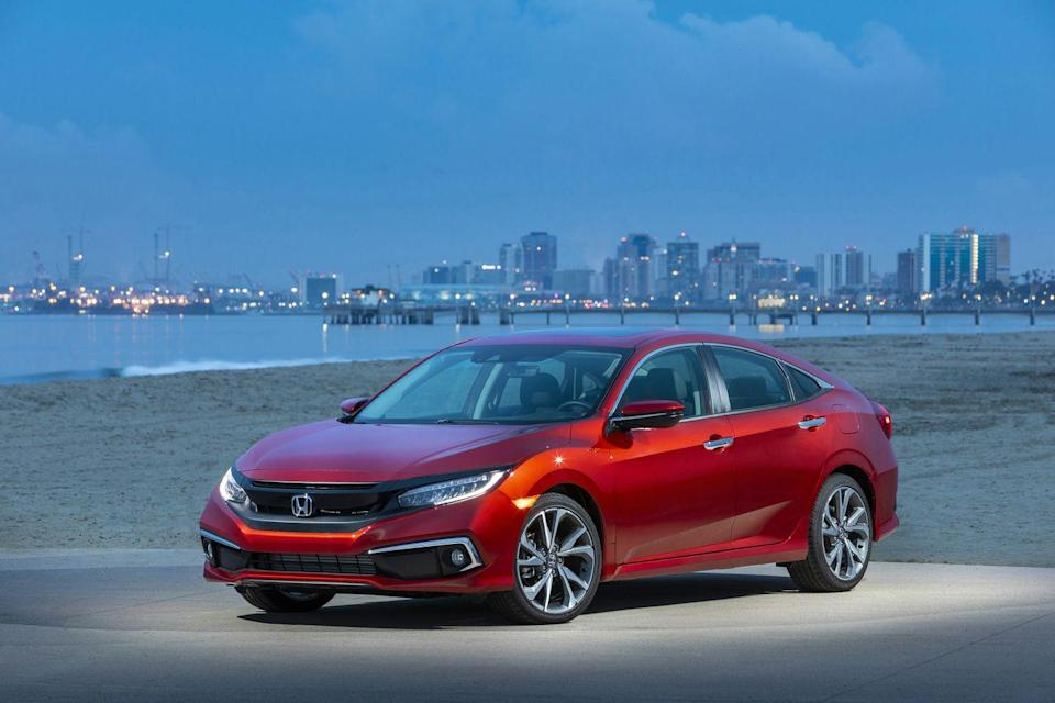 "<p>Once mere basic transportation, the humble <a href=""https://www.caranddriver.com/honda/civic-2021"" rel=""nofollow noopener"" target=""_blank"" data-ylk=""slk:Honda Civic"" class=""link rapid-noclick-resp"">Honda Civic</a> has blossomed into a desirable and fun-to-drive compact car. Available as either a sedan or a practical hatchback, the Civic is powered by your choice of a 158-hp 2.0-liter four-cylinder or a turbocharged 1.5-liter that makes 174 or 180 horsepower, depending on the model. <a href=""https://www.caranddriver.com/honda"" rel=""nofollow noopener"" target=""_blank"" data-ylk=""slk:Honda"" class=""link rapid-noclick-resp"">Honda</a> loads up its smallest car with plenty of standard <a href=""https://www.caranddriver.com/features/g27612164/car-safety-features/"" rel=""nofollow noopener"" target=""_blank"" data-ylk=""slk:driver-assistance features"" class=""link rapid-noclick-resp"">driver-assistance features</a>, including automated emergency braking, adaptive cruise control, and lane-keeping assist. Oddly, modern infotainment features aren't standard; the base LX model comes with a tiny touchscreen that offers radio tuning and not much else. The base model notwithstanding, the Civic is a compact car that should satisfy most buyers and one we're happy to recommend. If you're seeking something with a spicier flavor, we'd suggest the <a href=""https://www.caranddriver.com/honda/civic-type-r"" rel=""nofollow noopener"" target=""_blank"" data-ylk=""slk:306-hp Civic Type R"" class=""link rapid-noclick-resp"">306-hp Civic Type R</a> (both reviewed separately).</p><p><a class=""link rapid-noclick-resp"" href=""https://www.caranddriver.com/honda/civic-2021"" rel=""nofollow noopener"" target=""_blank"" data-ylk=""slk:Review, Pricing, and Specs"">Review, Pricing, and Specs</a></p>"