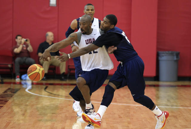 Kobe Bryant and Kyrie Irving bonded as 2012 U.S. Olympic teammates. (Reuters/Las Vegas Sun/Sam Morris)